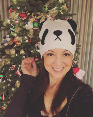 Ming-Na with a panda beanie for Christmas