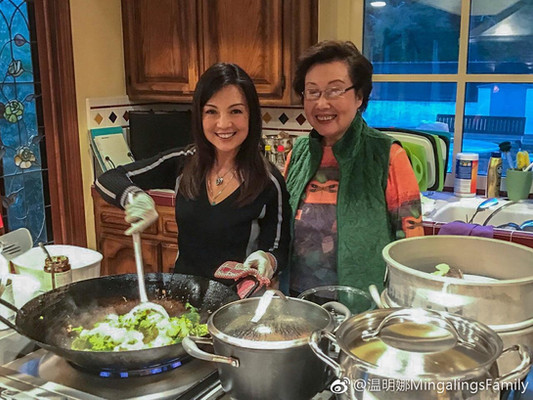 Ming-Na cooking with her Mom