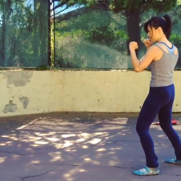 Ming-Na training at home during Labor Day