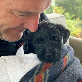 Clark Gregg with a puppy