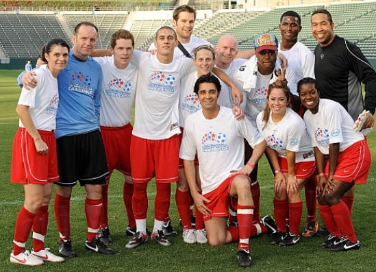 Clark Gregg playing soccer
