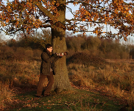 Nick Bartrum, wildlife photographer, on the look out for barn owls at redgrave and lopham fen, Suffolk.