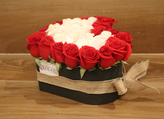 Box rose en forma de corazón de 45 a 50 rosas