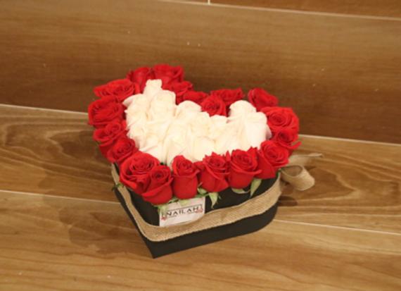 Box rose en forma de corazón de 30 rosas