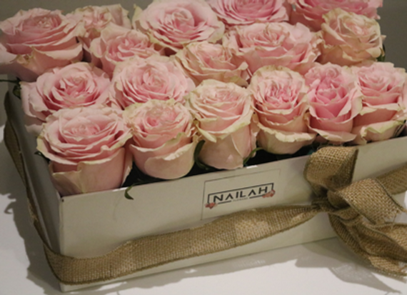 Caja rectangular de 30 a 35 rosas