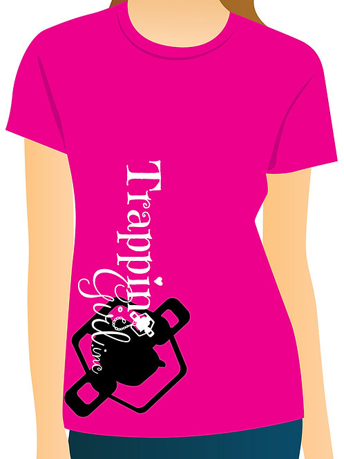 Side Logo Trapping Girl T-Shirt-Pink or Black