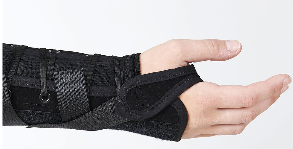 Close up of wrist and hand wearing the Med Spec Tripod wrist splint that uses metal stays to immobilize the wrist