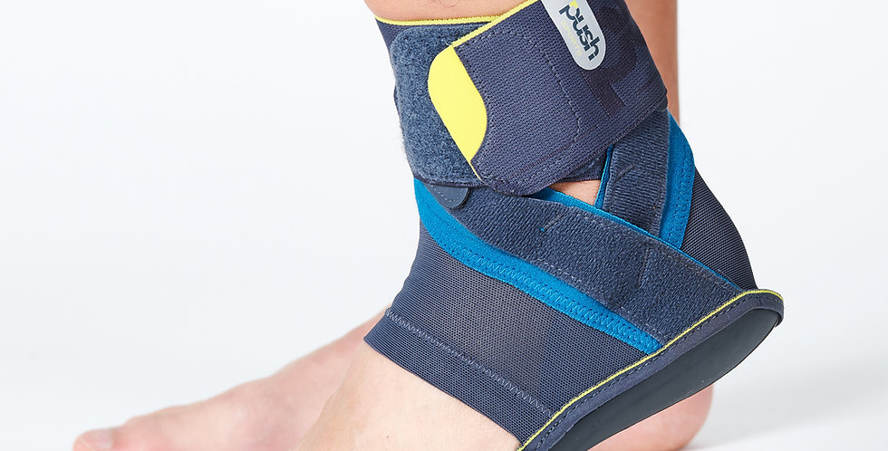 Close up of foot and ankle wearing the slim Push SB Kicx Ankle Brace for mild to moderate ankle sprains