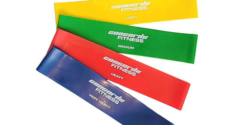 Yellow, green, red and blue resistance loops for increasing strength training