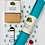 Overview of products in yoga kit including teal yoga mat, white yoga strap, cork yoga block, and red Paris massage ball