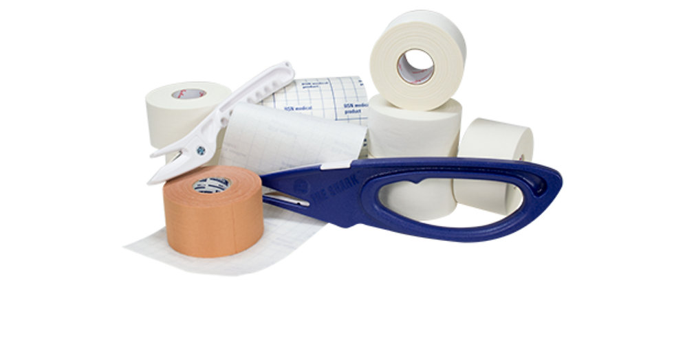 A selection of athletic tape and taping supplies for taping musculature injuries