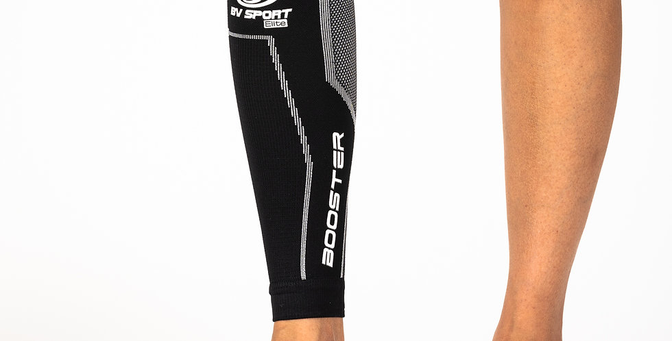 Close up of a leg wearing the Booster Elite Compression Calf sleeve
