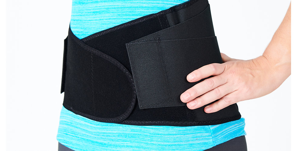 Side view of a woman wearing a blue shirt and a black Anatech Back-Up back brace for low back pain