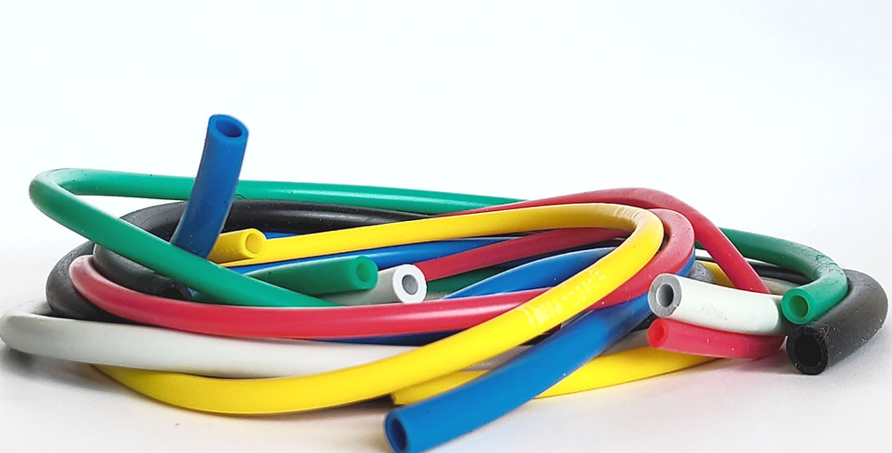 A pile of multi-coloured Sup-R resistance tubing a latex free alternative to Theraband for rehabilitation & strength exercise