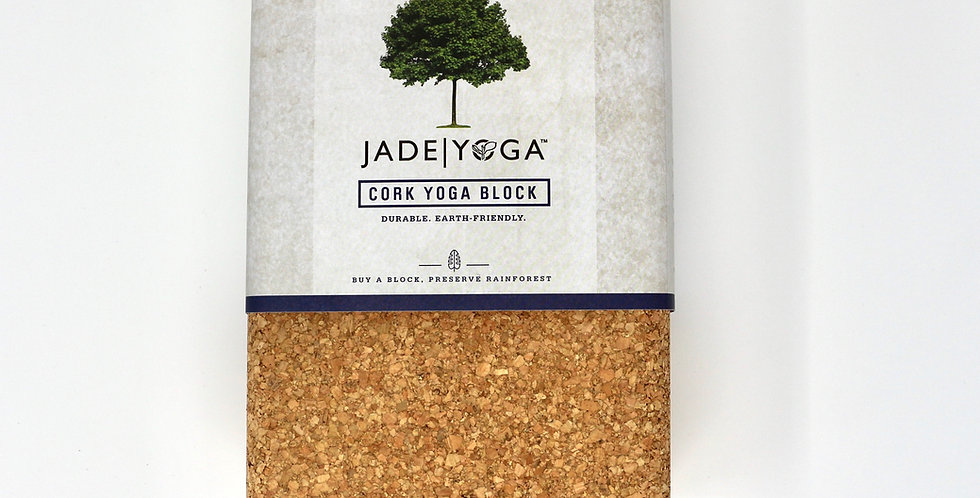 Front view of a cork yoga block from JadeYoga