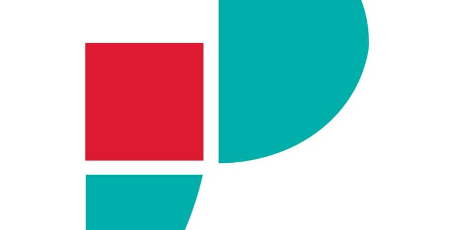 Red and teal Paris P icon representing the hernia belt for inaugural hernia