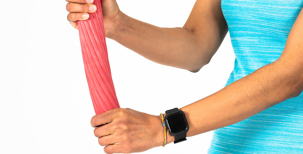 Woman holding a red resistance flex bar to increase forearm and wrist strength to prevent epicondylitis