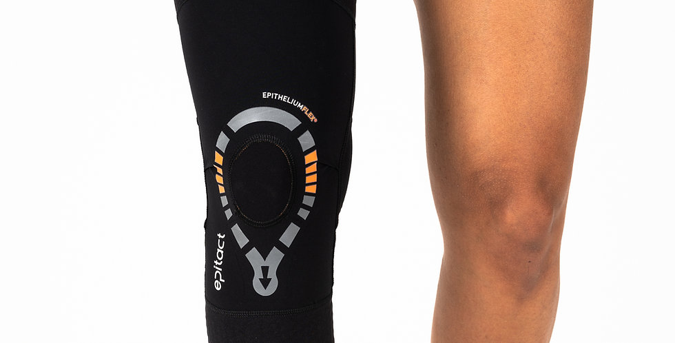 A close up of the Epitact Physiostrap Knee Sleeve on a woman's leg to provide pain relief from arthritis and mild knee pain