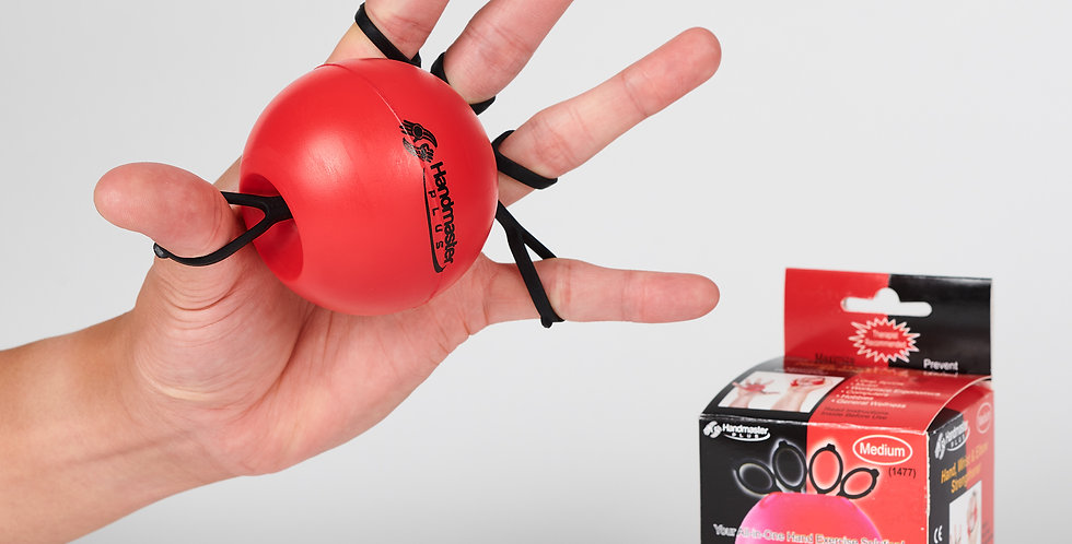The red Handmaster with black loops over the fingers of a hand in extended doing hand therapy to prevent carpal tunnel