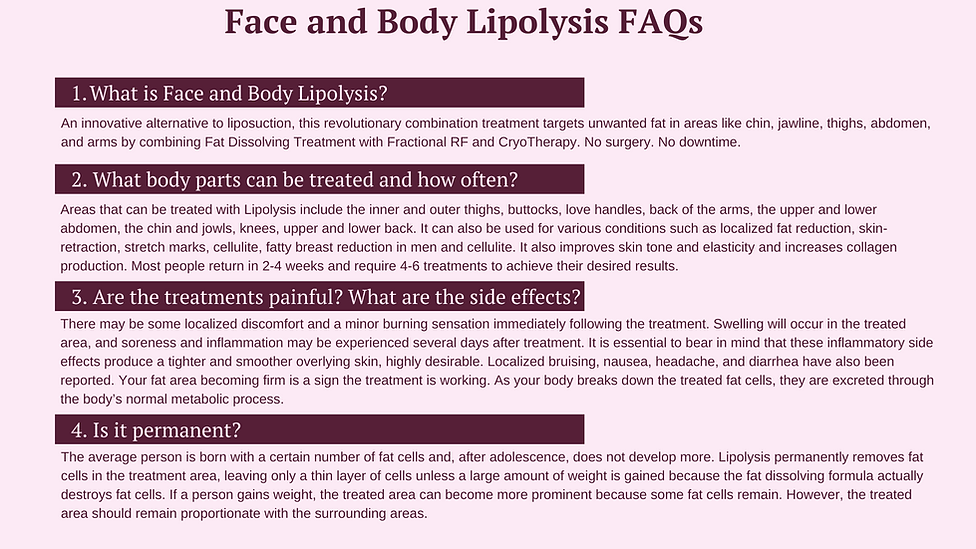 Face and body lipolysis FAQs