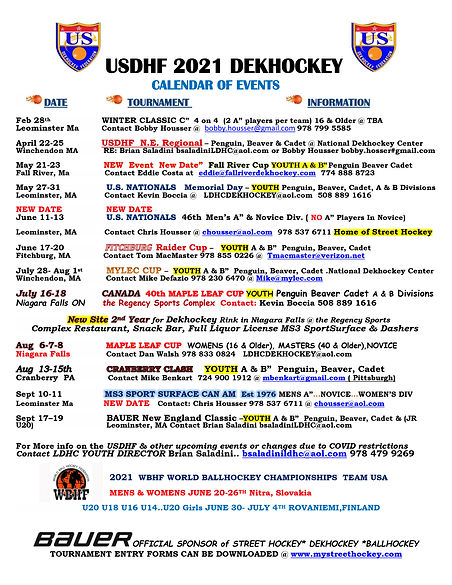 USDHF Dekhockey Calendar of Events