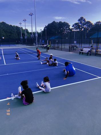 Tennis Camp Morning Stretching
