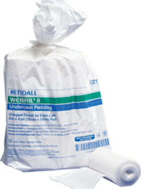"""Kendall WEBRIL II™ Undercast Padding 4"""" W x 4yds. L Nonsterile, Crimped Finish, Adherent"""