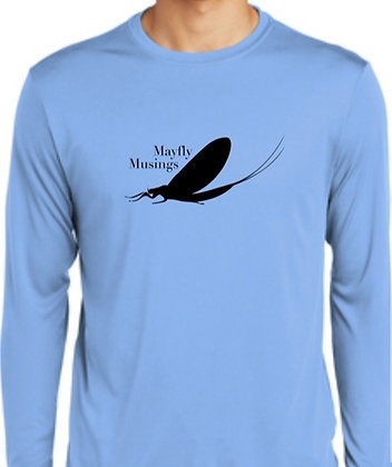 Mayfly Musings LS Logo Shirt - Carolina Blue