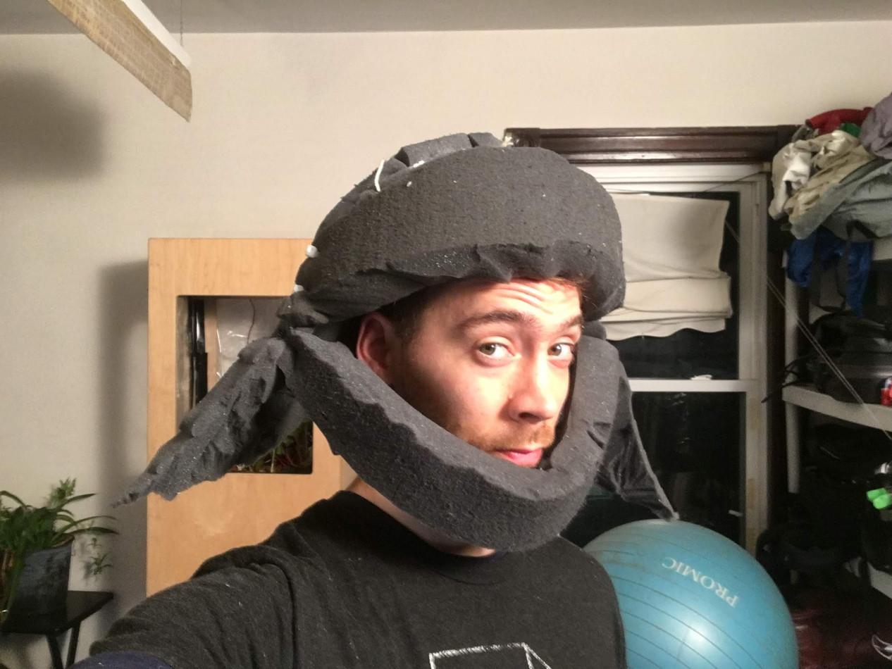 Testing the head on my head