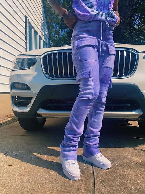Tie Dye Stacked Pants (Purple)