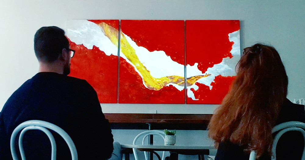 """The Living Art painting """"Incandescent"""" installed in """"Delice et Chocolat"""" in Ardmore, PA."""