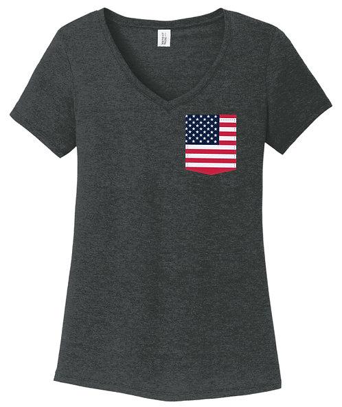 USA Girl V-Neck Pocket shirt DM1350L