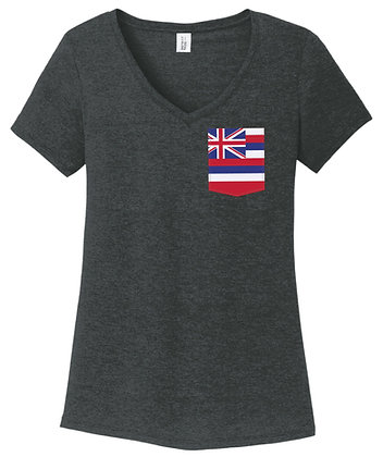 Hawaii Girl V-Neck Pocket shirt DM1350L