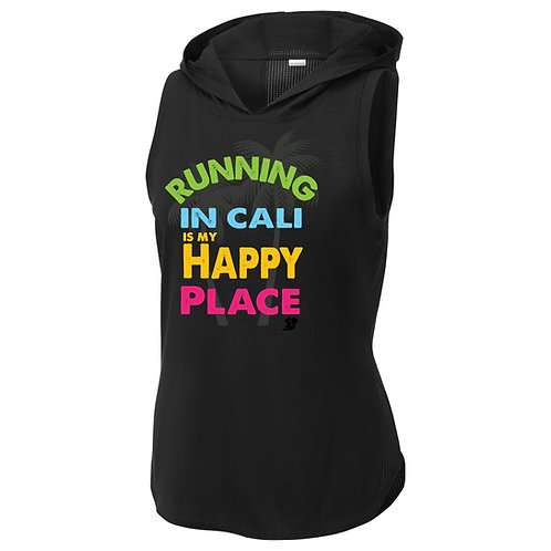 Running In Cali Is My Happy Place Ladies Hooded Tank Top (LST410)