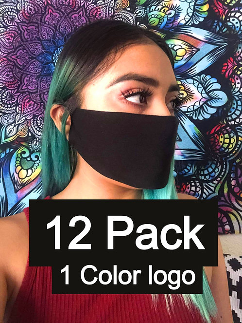 Single Ply Multicolored face mask 12 pack 1 Color logo