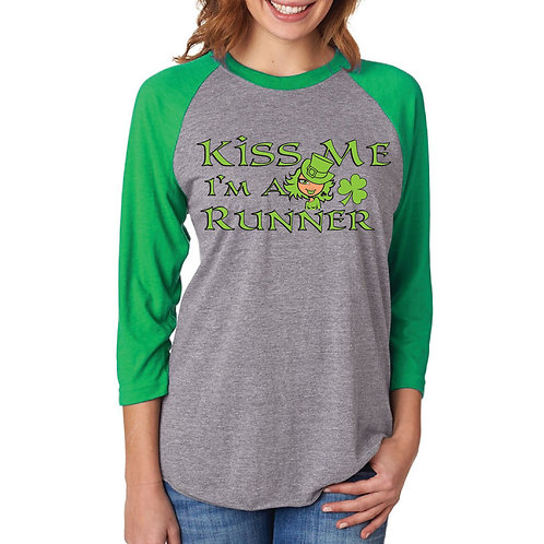 Kiss Me Im Irish Ladies Quarter Sleeve