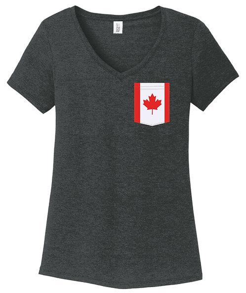 Canada Girl V-Neck Pocket shirt DM1350L