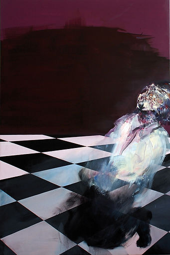 Untitled (The Gambler) 2010  Spray paint/ Oil on canvas  150x100cm