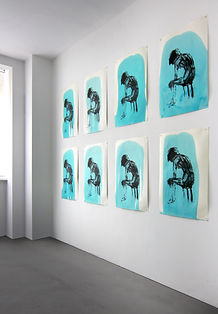 "Exhibition View Lithography ""Green Painting"" Handmade paper 300g 2-colour-print 78x53cm 15Exemplar"