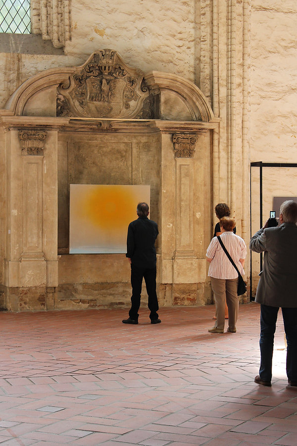 Regina Nieke @ St. Mary's Church Untitled (Sun) 2016 spraypaint/ acrylic/ oil on canvas 115x140cm