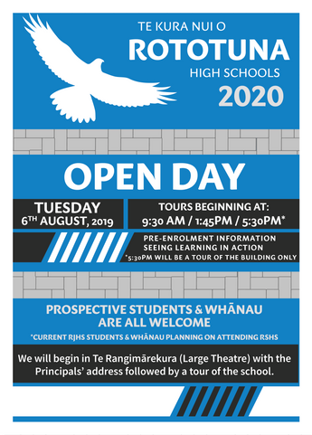 Open Day - Tuesday 6 August 2019 (Click on poster for times)