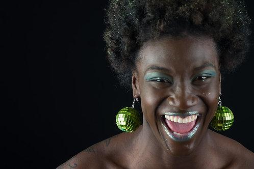 Greatest Dancer - Green Disco Ball Earrings