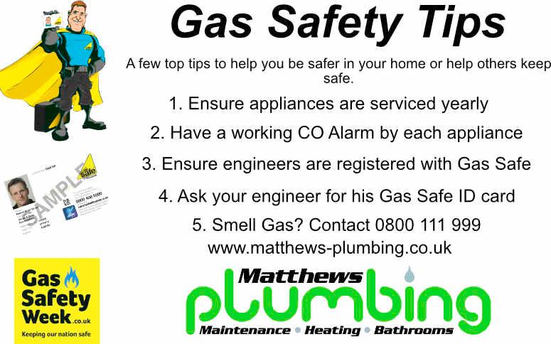 Matthews Plumbing and maintenance ltd supporting Gas safety week 2019