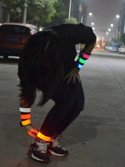 Nylon Led Flashing Armband Safety Night Running Reflective Belt Wrist Strap