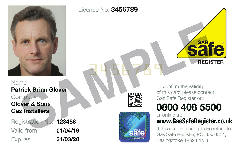 Sample of Gas Safe Engineer card