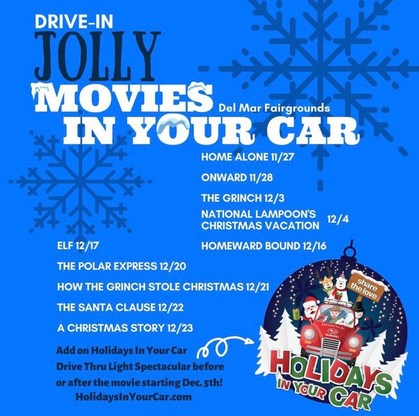 Holidays In your Car Drive-In Del Mar Christmas Movies Best Top Holiday Christmas events activities list guide for families kids are still happening in San Diego December 2020 what to do this year
