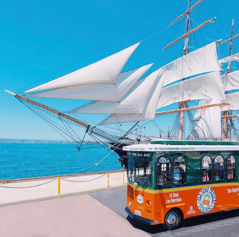 Old Town Trolley Tours Lights and Sights Christmas Lights Tour Balboa Park Seaport Village Best Top Holiday Christmas events activities list guide for families kids are still happening in San Diego December 2020 what to do this year