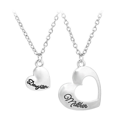 Mother and Daughter Hollow Love Pendant Necklace