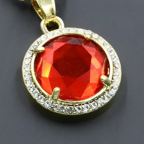 Red Stone Chain and Charm S