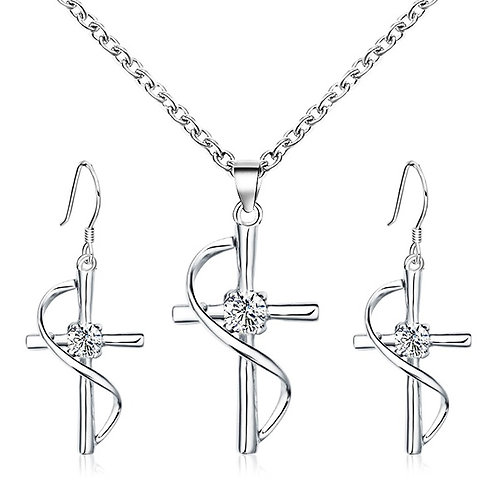 Cross Pendant Earrings and Necklace Set